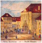 Város színháza. [Várszínház]. Carl Vasquez: Buda és Pest szabad királyi városainak tájleírása, részlet, Bécs, 1837 körül. Országos Széchényi Könyvtár Térképtár