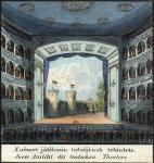 A Német Játékszín belsőjének tekintete. Carl Vasquez: Buda és Pest szabad királyi városainak tájleírása, részlet, Bécs, 1837 körül. Országos Széchényi Könyvtár Térképtár