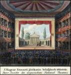 A Magyar Nemzeti Játékszín belsőjének tekintete. Carl Vasquez: Buda és Pest szabad királyi városainak tájleírása, részlet, Bécs, 1837 körül. Országos Széchényi Könyvtár Térképtár